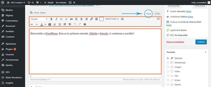 Editar el contenido de una entrada en WordPress